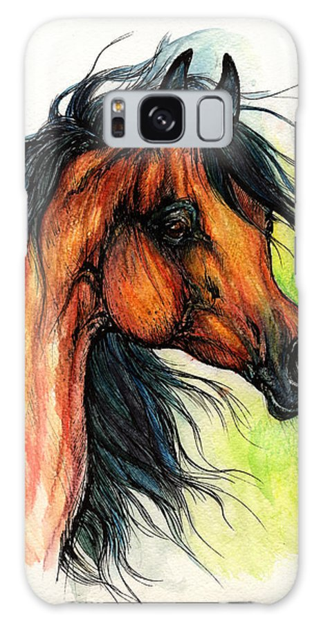 Horse Galaxy S8 Case featuring the painting The Bay Arabian Horse 11 by Angel Ciesniarska