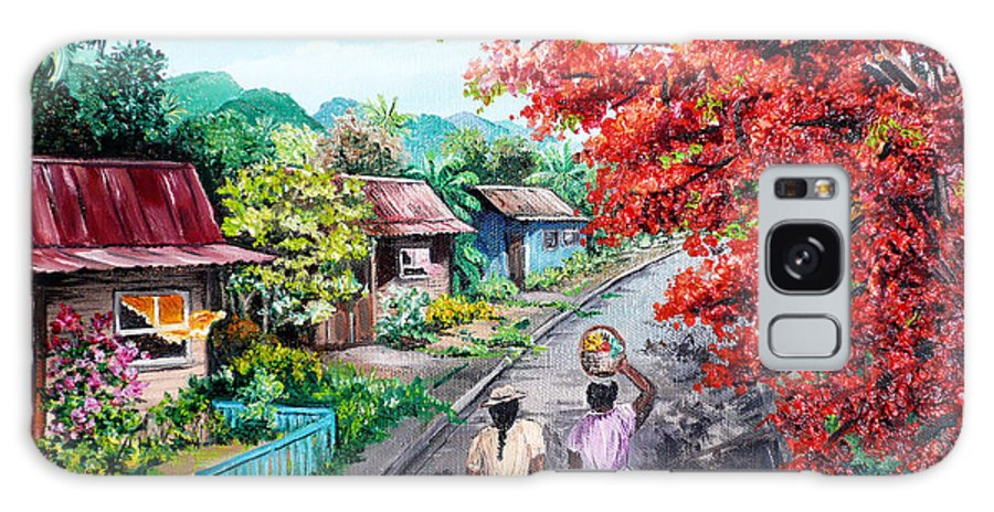 Caribbean House Painting Galaxy Case featuring the painting The Blue Fence    Sold by Karin Dawn Kelshall- Best