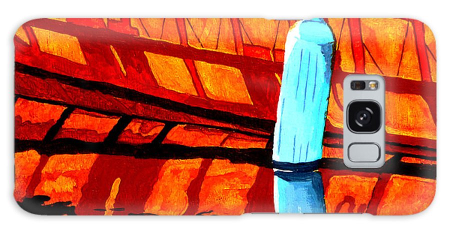 Canoe Galaxy Case featuring the painting The Blue Fender by Anthony Dunphy