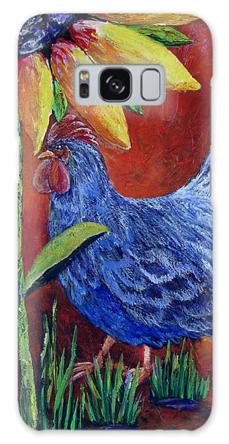 Rooster Galaxy S8 Case featuring the painting The Blue Rooster by Suzanne Theis