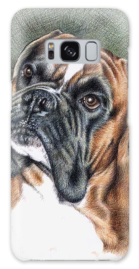 Dog Galaxy Case featuring the drawing The Boxer by Nicole Zeug