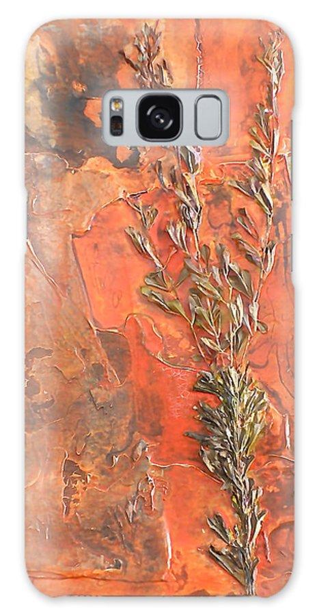 Orange Galaxy S8 Case featuring the painting The Burn - Panel I by Sandra Gail Teichmann-Hillesheim