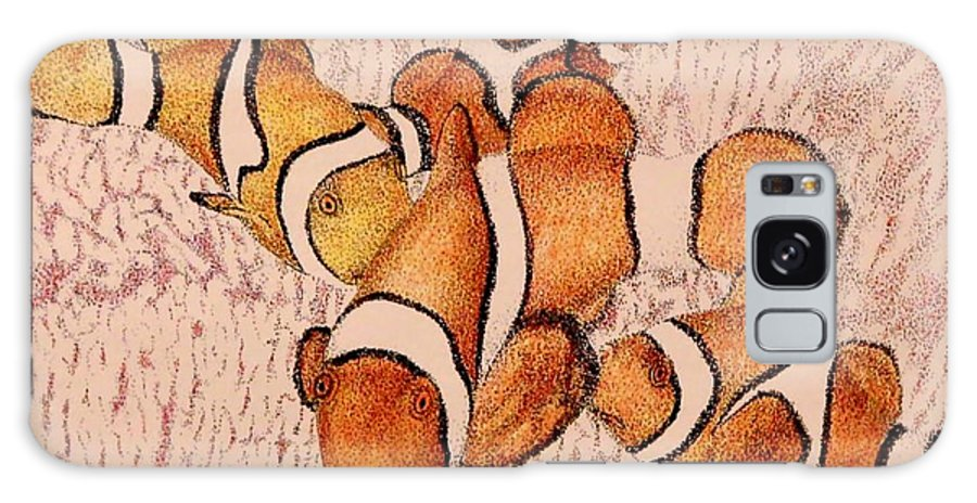 Fish Aquarium Seascape Coral Clownfish Ocean Galaxy S8 Case featuring the drawing The Clowns by Tony Ruggiero