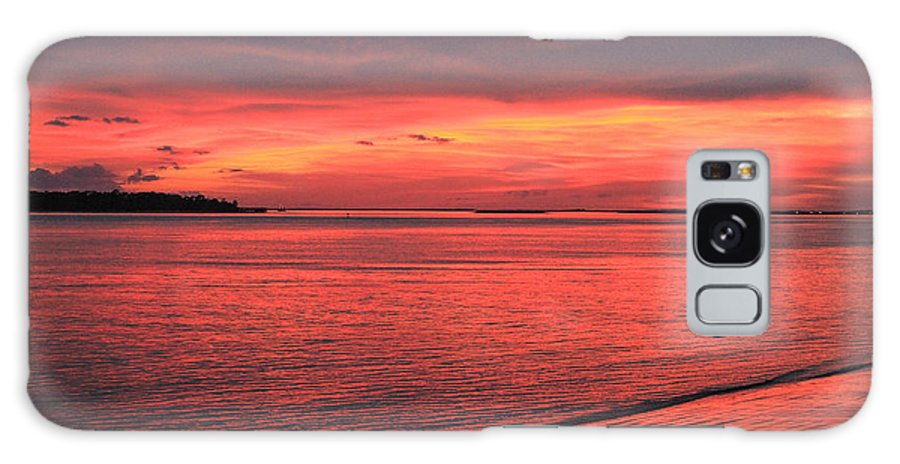 Nature Sunset Color Water Red Beach Sky Clouds Reflection Galaxy S8 Case featuring the photograph The Color Of Night by Jacquie Law