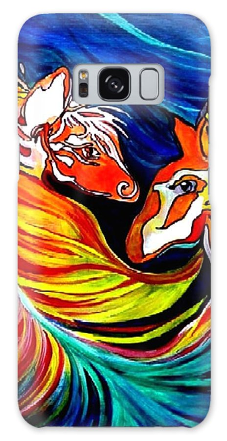 Animals Galaxy S8 Case featuring the painting The Conversation by Carolyn LeGrand