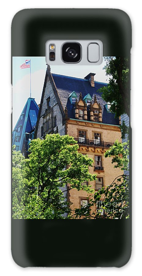 New York Art Iconic Building Dakota Landmark Architectural Legendary Home Gothic Old Glory Outdoors Street Scene Windows Vertical Spring Roofs Wood Print Canvas Print Metal Frame Poster Print Available On Phone Cases T Shirts Spiral Notebooks Mugs Tote Bags And Shower Curtains Galaxy S8 Case featuring the photograph The Dakota, New York City by Marcus Dagan