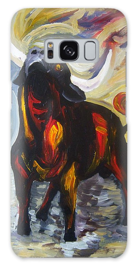Expression Galaxy S8 Case featuring the painting The Defiant Bull by Vedran V Pasalic