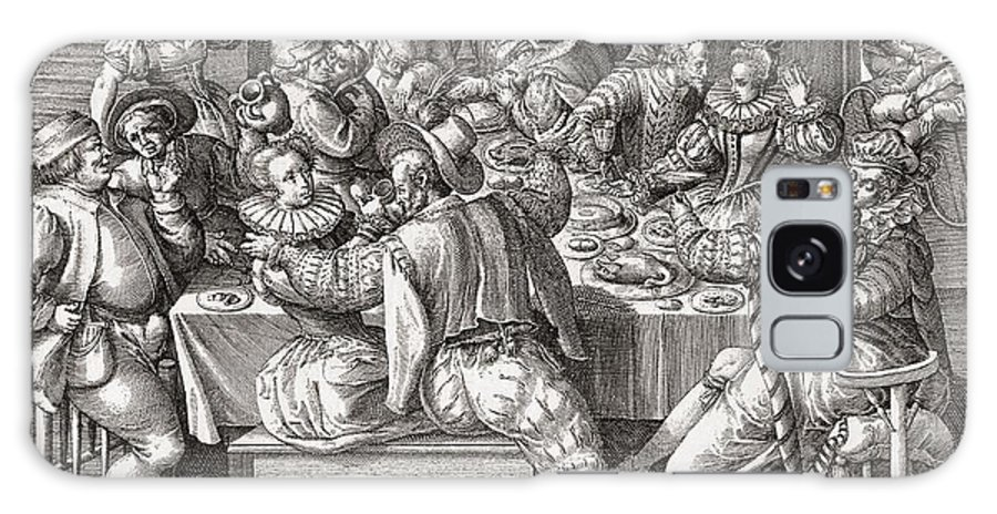 17th Galaxy S8 Case featuring the photograph The Feast, After A 17th Century Engraving By N. De Bruyn. From Illustrierte Sittengeschichte Vom by Bridgeman Images