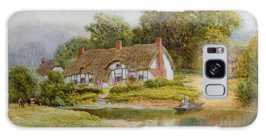 Boat; River; Crossing; Punt; Thatch; Countryside; Bank; Duck; Ducks; Rural; Rustic; Picturesque; Cottage Galaxy S8 Case featuring the painting The Ferry by Arthur Claude Strachan