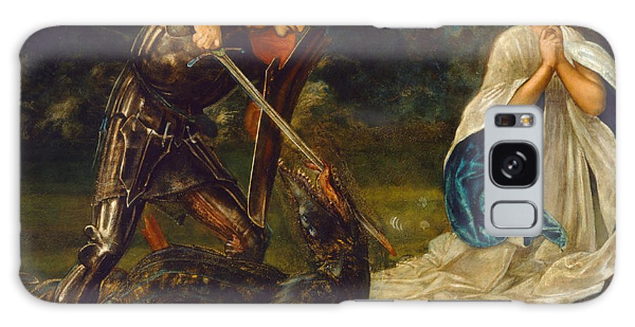 Edward Burne-jones Galaxy S8 Case featuring the painting The Fight. St George Kills The Dragon Vi by Edward Burne-Jones