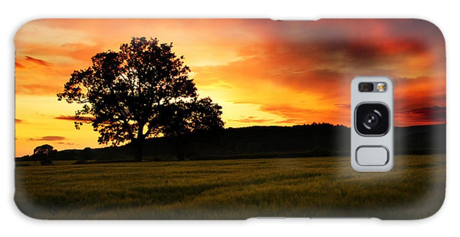 Sunset Galaxy S8 Case featuring the photograph the Fire on the Sky by Angel Ciesniarska