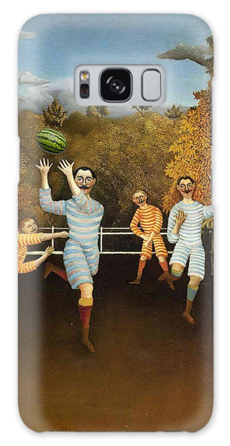 Classic Art With A Change Galaxy S8 Case featuring the digital art The Football Players 1877 by Henri Rousseau