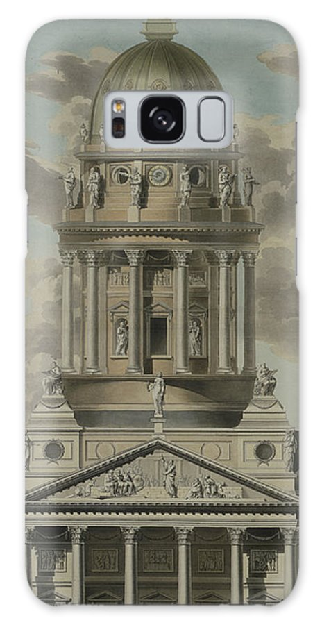 The German Cathedral On The Gendarmenmarkt Galaxy S8 Case featuring the drawing The German Cathedral On The Gendarmenmarkt by GF Kluge