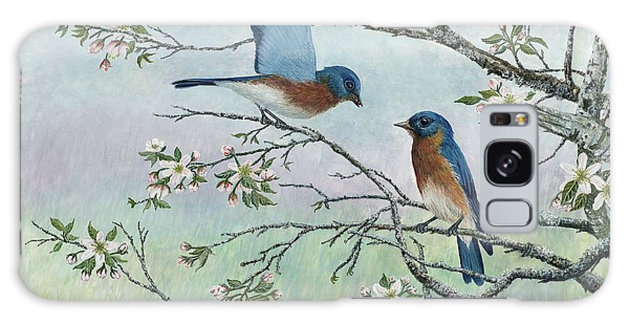 Bluebirds; Trees; Wildlife Galaxy S8 Case featuring the painting The Gift by Ben Kiger