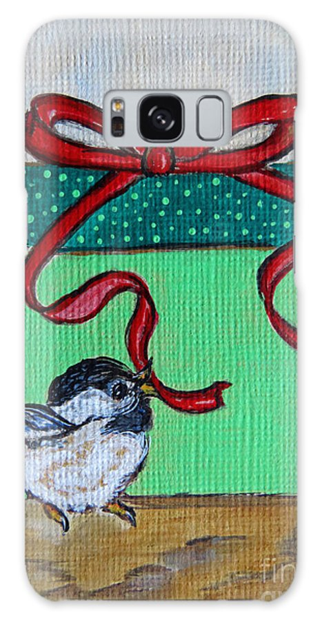 Christmas Galaxy S8 Case featuring the painting The Gift - Christmas Chickadee Whimsical Painting By Ella by Ella Kaye Dickey
