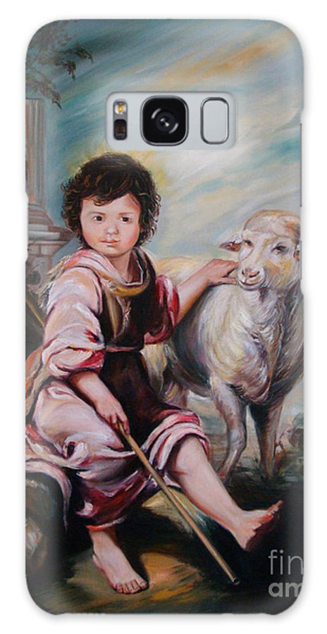 Classic Art Galaxy Case featuring the painting The Good Shepherd by Silvana Abel