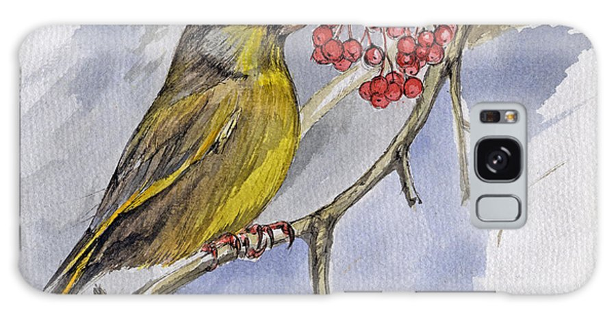 Greenfinch Galaxy S8 Case featuring the painting The Greenfinch by Angel Ciesniarska