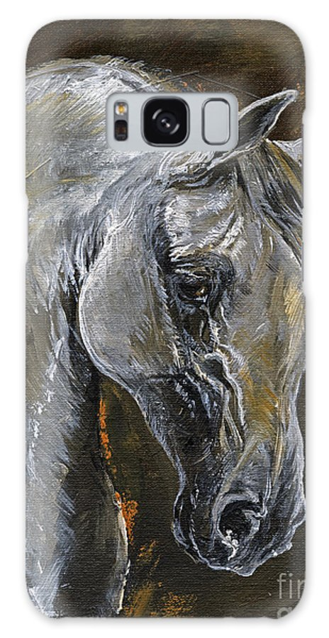 Grey Horse Galaxy S8 Case featuring the painting The Grey Arabian Horse Oil Painting by Angel Ciesniarska