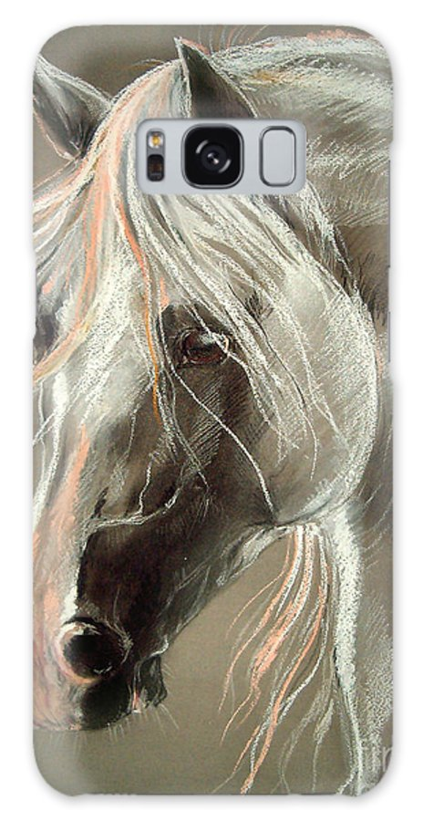 Pastel Galaxy S8 Case featuring the drawing The Grey Horse Soft Pastel by Angel Ciesniarska