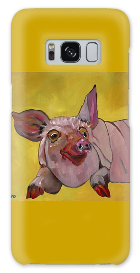 Pig Galaxy S8 Case featuring the painting The Happiest Pig In The World by Randine Dodson