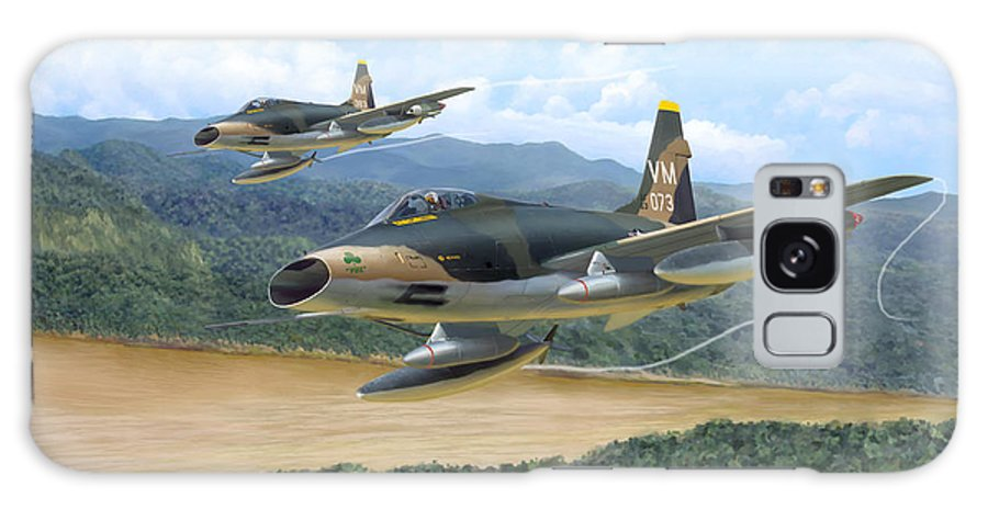 Aviation Galaxy Case featuring the painting The Hun - F-100 Super Sabres In Vietnam by Mark Karvon