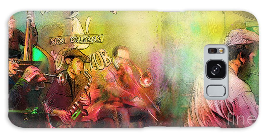 Music Galaxy S8 Case featuring the painting The Jazz Vipers In New Orleans 03 by Miki De Goodaboom