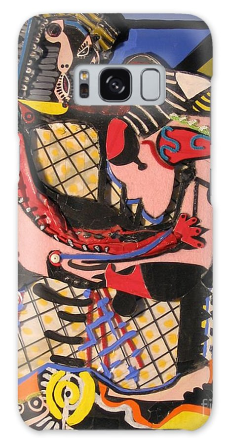 Abstract Galaxy S8 Case featuring the mixed media The Kiss Aka The Embrace After Picasso 1925 by Mack Galixtar