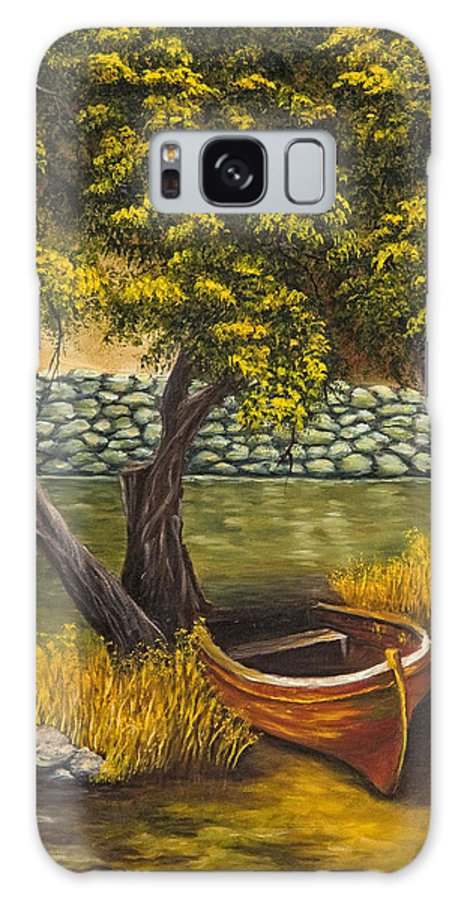 Landscape Galaxy Case featuring the painting The Little Red Boat by Darice Machel McGuire