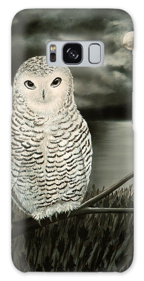 Owl Galaxy S8 Case featuring the painting The Marsh At Night by Liz Boston