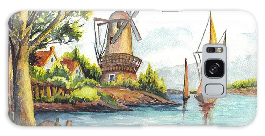 Windmill Galaxy S8 Case featuring the painting The Olde Mill by Carol Wisniewski