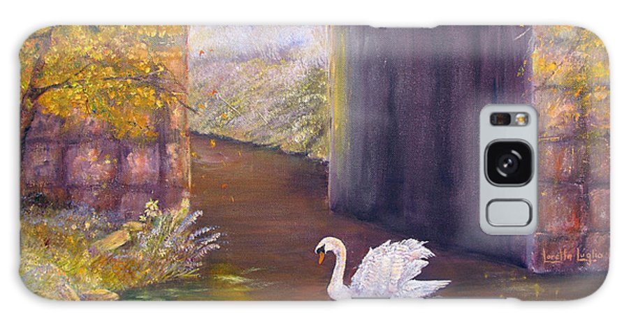 Swan Galaxy S8 Case featuring the painting The Mill Swan by Loretta Luglio