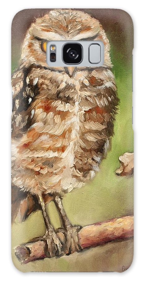 Burrowing Owl Galaxy S8 Case featuring the painting The Observer by Eve Wheeler