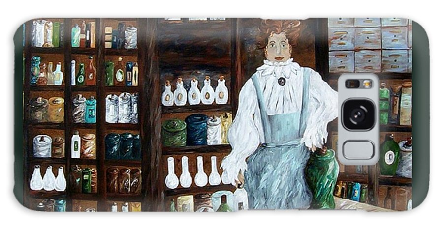 Apothecary Galaxy S8 Case featuring the painting The Old Pharmacy ... Medicine In The Making by Eloise Schneider Mote