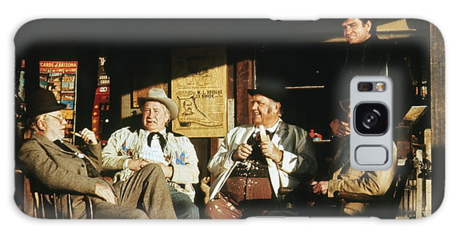 The Over The Hill Gang Johnny Cash Old Tucson Az Western Wear Smoking Whittling Country Store  Porch Edgar Buchanan Chill Wills Andy Devine Walter Brennan  Galaxy S8 Case featuring the photograph The Over The Hill Gang Johnny Cash Porch Old Tucson Arizona 1971 by David Lee Guss