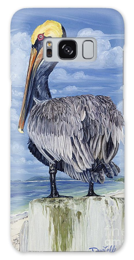 Seascape Galaxy Case featuring the painting The Pelican Perch by Danielle Perry