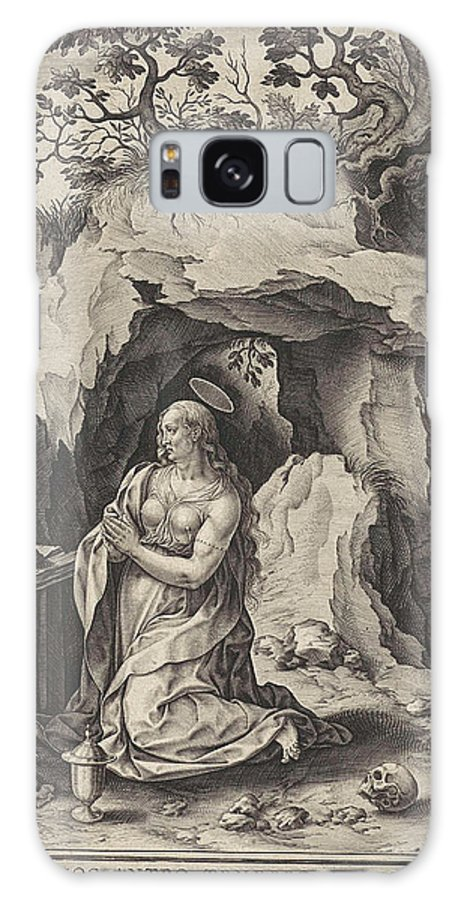 Penitent Galaxy S8 Case featuring the drawing The Penitent Mary Magdalene, Antonie Wierix II by Antonie Wierix Ii