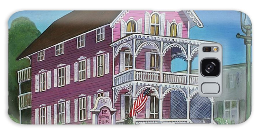 Cape May Galaxy S8 Case featuring the painting The Pink House In Cape May by Melinda Saminski