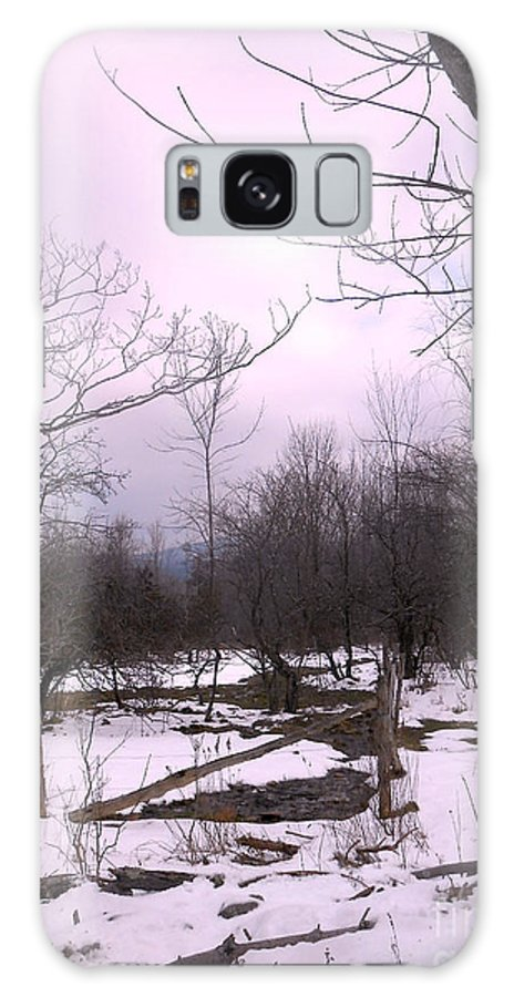 Snow Galaxy S8 Case featuring the photograph The Pink Winter Light On The Mountain Top by Patricia Keller