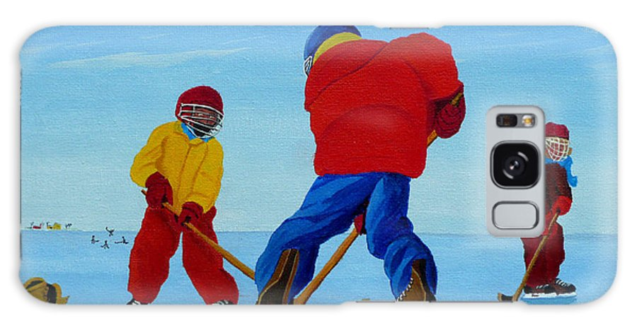 Winter Galaxy S8 Case featuring the painting The Pond Hockey Game by Anthony Dunphy