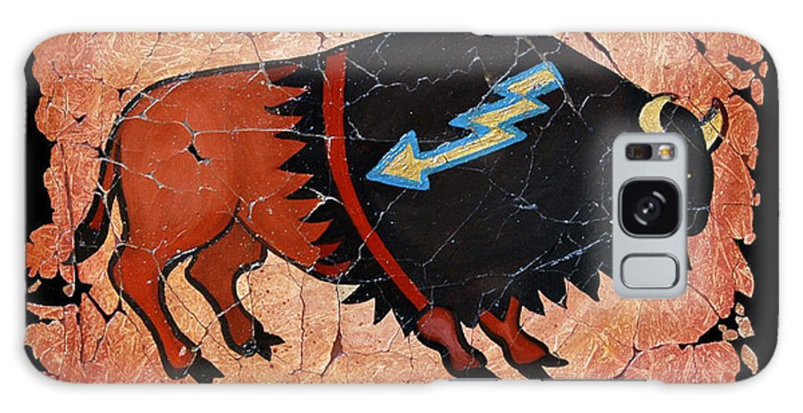 Red Bison Galaxy S8 Case featuring the painting The Red Buffalo Fresco by OLena Art Brand