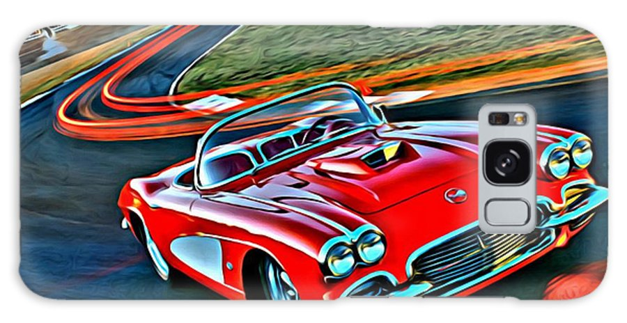 Car Galaxy S8 Case featuring the painting The Red Corvette by Florian Rodarte