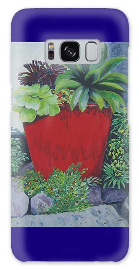 Red Pot Galaxy Case featuring the painting The Red Pot by Suzanne Theis