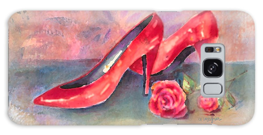 Shoe Galaxy S8 Case featuring the painting The Red Shoes by Arline Wagner
