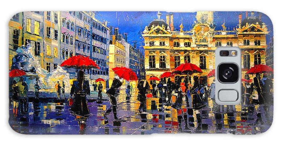 The Red Umbrellas Of Lyon Galaxy S8 Case featuring the painting The Red Umbrellas Of Lyon by Mona Edulesco