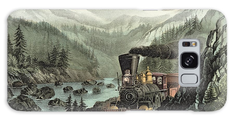 Cowcatcher Galaxy S8 Case featuring the painting The Route To California by Currier and Ives