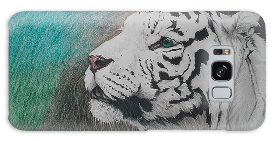 White Tiger Tigris Felinus Big Cat Wild Large Portrait Hunter Predator Carnivore Blue Green Woods Forest Black Stripes Eyes Realistic Realism Detailed Detail Details Nose Head Shot Mammal Animal Wildlife Nature Endangered Creature Galaxy S8 Case featuring the drawing The Scent Of The Hunt by Maricay Smeenk