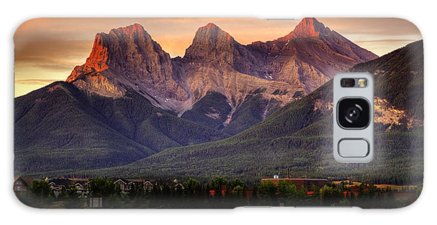 Three Sisters Mountains Galaxy S8 Case featuring the digital art The Three Sisters Canmore by Diane Dugas