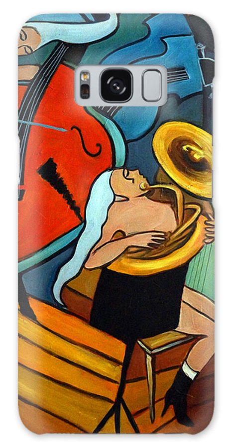 Musician Abstract Galaxy S8 Case featuring the painting The Tuba Player by Valerie Vescovi