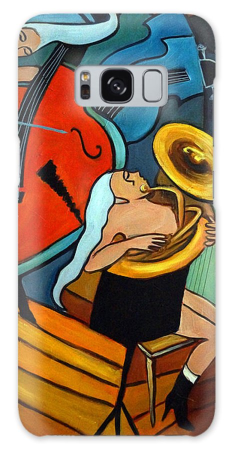 Musician Abstract Galaxy Case featuring the painting The Tuba Player by Valerie Vescovi