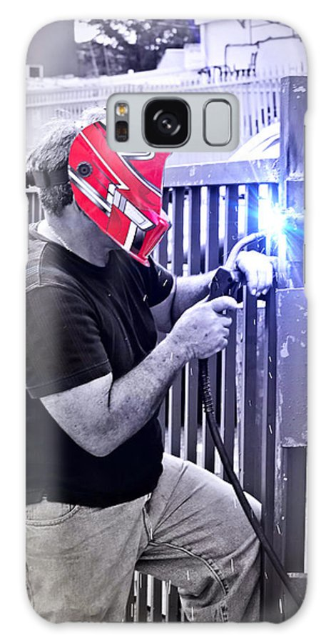 Helmet Galaxy S8 Case featuring the photograph The Welder by Carlos Diaz